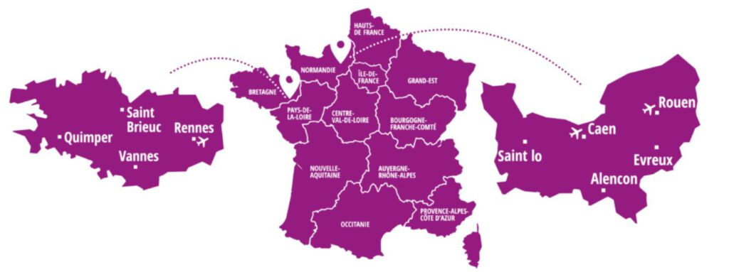 Bretagne ja Normandia kartta. Ranskan siiderialueet