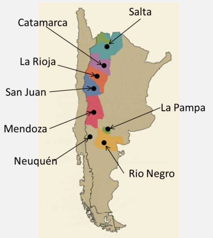 Argentiinan viinialueet kartta