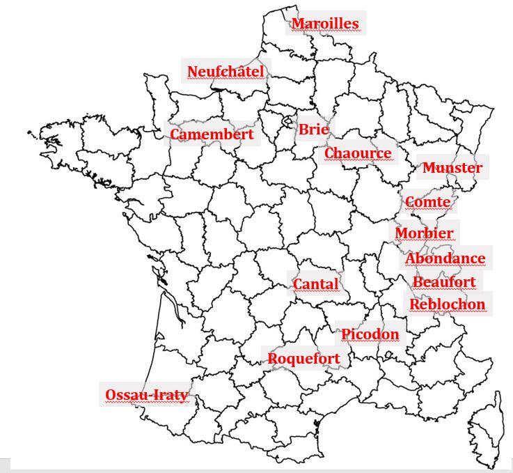 Juustot Ranska kartta