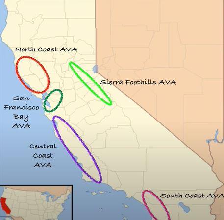 Kalifornian viinialueet kartta
